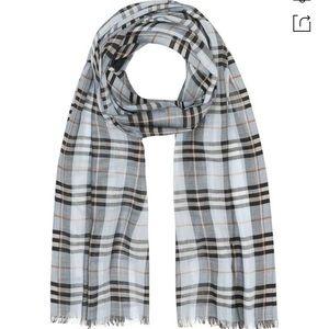 Vintage Check Lightweight Wool & Silk Scarf Blue